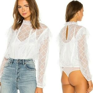 Free People Goldie Long Sleeve Lace Bodysuit